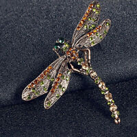 Vintage Crystal Rhinestone Dragonfly Brooches Women Dress Scarf Brooch Pins Gift