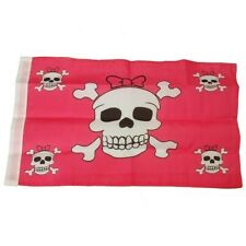 Small 12 Inch X 20 Inch Replacement Flag For Whip Antenna Pink With Skulls Flag