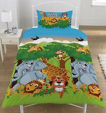 Jungle Friends Single Reversible Duvet Cover and Matching Pillowcase Set
