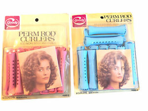 2 Vintage Goody Perm Rod Curlers Pink/Blue Medium 12 Count 1982 #430/3 NEW