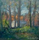 Fall Trees Original Landscape Oil painting Art impressionism 8x8 Canvas