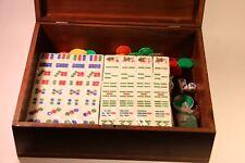 Vintage Chinese Mah-Jong 146 Tiles Game Set With Box (Green bottom)