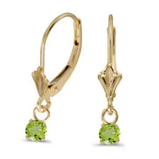 14k Yellow Gold Round Peridot Lever-back Earrings