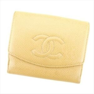 Chanel Wallet Purse Folding wallet Beige Leather Woman Authentic Used T5159