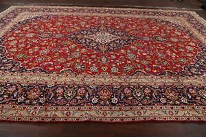 Vintage Traditional Floral Ardakan Hand-Knotted Oriental RED Wool Area Rug 10x14