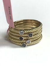 JWBR Silver Gold Tone Band Ring - Topaz, Sapphire, Rubi & .17 Diamond - Size 7