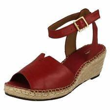 Clarks Women's Leather Ankle strap Wedge Sandals & Beach Shoes
