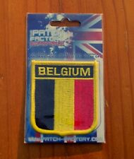 "Belgium Black Yellow Red Banner Flag Iron-On 2 7/8"" Embroidered Patch"