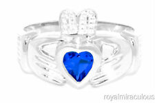 CLADDAH RING 14K WHITE GOLD SIMULATED SAPPHIRE LOVE & LUCK - SEPTEMBER BIRTH