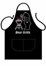 "MENS,WOMENS,UNISEX,BLACK PRINTED NOVELTY APRON ""BEAR GRILLS"" AS ADULT"