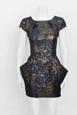 ALL SAINTS SPITALFIELDS Opulence Blue Gold Abstract Print Mini Tunic Dress 8/4