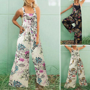 ZANZEA Women Summer Strappy Floral Jumpsuit Playsuit Bib Overalls Long Dungarees