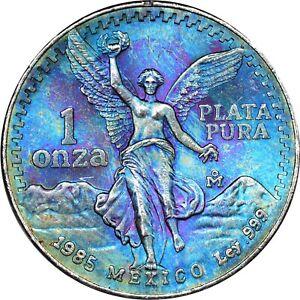 1985 MO 1 Onza Silver Libertad Mexico Crazy Color PCGS QC