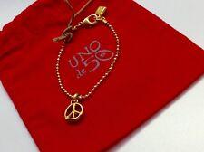 """NWT Uno de 50 Goldtone Beaded Bracelet w/ Peace Pendant 6.5"""" """"Paz/Piece"""""""