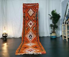 Moroccan Boujad Handmade Vintage Runner 2'5x9'8 Geometric Berber Orange Wool Rug
