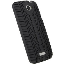 iGadgitz Black Silicone Skin Case Cover With Tyre Tread Design for HTC One X S72