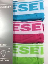 NWT Diesel Andre. 3 Pack. Sz M. Cotton, Brief, Multi-Color Solid, MRSP. $35.00