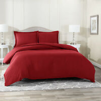 Duvet Cover Set Soft Brushed Comforter Cover W/Pillow Sham, Burgundy - King