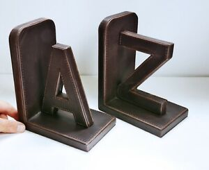 Vintage Stitched Leather Letters A & Z Bookends / Book Ends. Shelf Ornament
