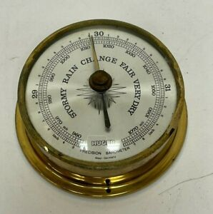 "Vintage Huger Brass Precision Barometer West Germany 3 1/2"" Diameter"