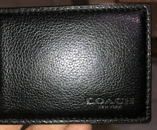 Mens Coach New York Smooth Black Leather Compact ID Bi Fold Card Holder Wallet