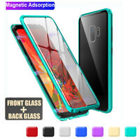 For Samsung S20 Ultra S10+ S9+ 360° Magnetic Adsorption Metal Glass Case Cover