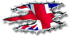 Vinyl decal 120mm Union Jack ripped torn metal effect WAVING flag - facing right