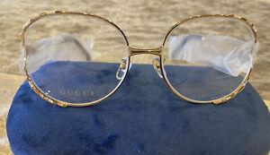 Gucci Eyeglasses GG0596OA 002 Gold Pink/White  Womens Original