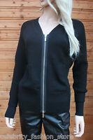 Karen Millen Black Biker Wool Zip Boyfriend Dress Cardigan Knit Jacket 8 - 12