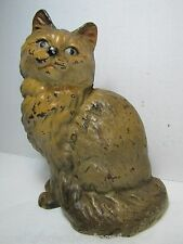 Antique Cast Iron Cat Doorstop kitty sitting old original paint unusual color