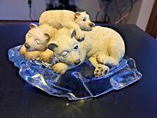 3 Polar Bears Figurine Sleeping On Glass Ice