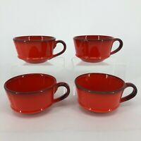 Set of 4 - Vintage Metlox Poppytrail Red Rooster Coffee Cups Mugs