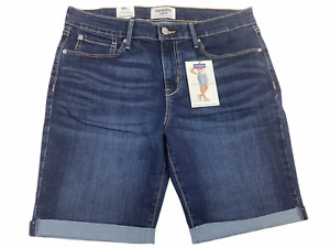 "DENIZEN from Levi's Women's Mid-Rise 9"" Bermuda Jean - Size 12, Dark Wash, NWT"
