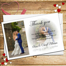 10 Personalised Wedding Day Thank you PHOTO Cards N170