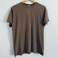 Vtg 90s DSCP BVD Faded Army Brown Distressed Blank T Shirt Large L Made in USA