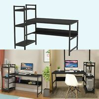 Modern Minimalist Corner Computer Desk + Bookshelf PC Laptop Study Desk US STOCK