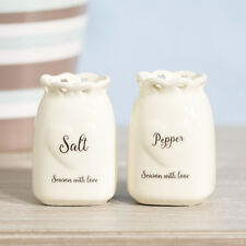 White Love Heart Ceramic Salt & Pepper Pots Small Condiment Shakers Mills Set