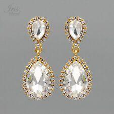 18K Gold Plated Clear Crystal Rhinestone Bridal Wedding Drop Dangle Earrings 201