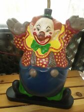 RARE Vintage Bozo the Clown table lamp with light up red nose & balloon light