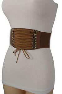 Women Brown Fashion Belt Wide Corset Stretch Waistband Big Front Tie Size XS S M