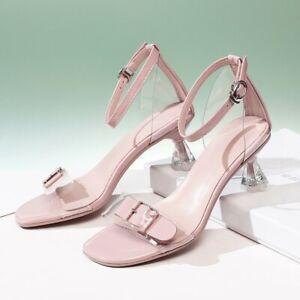 Women Sweet Summer Buckle Strap Ankle Strap Sandals Elegant Kitten Mid Heel #561