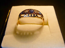Antique 18ct Yellow Gold Edwardian? Sapphire & Diamond Ring. Size R
