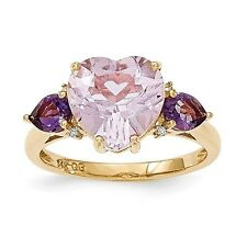 14k Yellow Gold Pink & Purple Amethyst and Diamond Ring