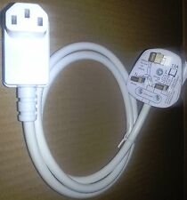 10M,UK PLUG TO 90° RIGHT ANGLE IEC SOCKET WHITE CABLE, LCD PLASMA TV KETTLE LEAD