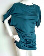 Diseñador NELLIE PARTOW largo de gran tamaño Blusa Talla Xs -- como Nuevo -- 100% seda verde azulado