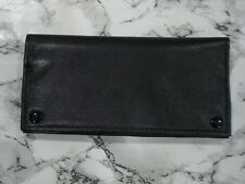 Black leather 2oz Tobacco Pouch With 3 Compartments And Press Stud Closure New