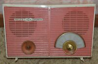 Vintage Philco Twin Speaker Coral Mid Century Tube Radio H836-124