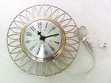 Authentic Vtg MID CENTURY MODERN Ornate GOLD Domed Sessions Kitchen WALL CLOCK