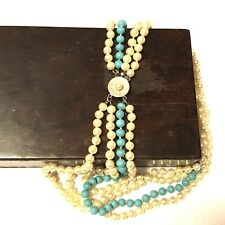 Vintage Majorica Pearl And Real Turquoise Women's Necklace Sterling Silver Clasp