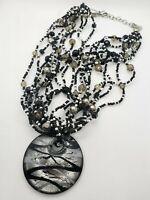 Vintage Large Black White & Silver  Morano Glass Necklace 10 Strands